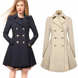 Wholesale Women Jakcet - Wholesale- Women's Winter Autumn Long Sleeve Lapel Collar Outwear Causal Solid Trench Coat Double Breasted Slim Fit Jakcet Tops YF175