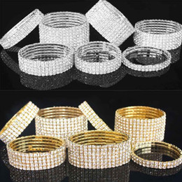 Wholesale Alloy Stretchy - 1-10 Rows Rhinestone Austria CZ Bracelets Crystal Wedding Bride Stretchy Bangle Wristband Jewelry Bracelet Gold and Silver Color