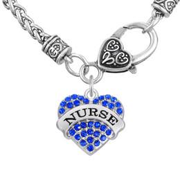 Wholesale Colorful Bracelets For Men - Thick Bracelets Word NURSE Pendant Friendship Necklaces For Men&Women Colorful Heart Necklaces Crystal Heart Lobster Clasp Jewelry