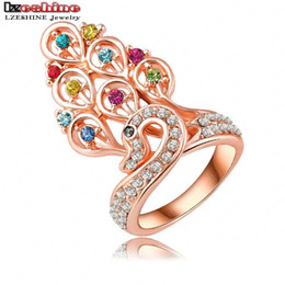 Wholesale Gold Plated Austrian Crystal Peacock - Wholesale-18K Rose Gold Plate Luxury Peacock Princess Engagement Rings Pave Austrian Crystals Charm Jewelry Ri-HQ0196