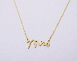 Wholesale Miss Pendant - 5pcs lot Gold Silver Tiny Love Alphabet Miss Letter Necklace Dainty Mrs Small Stamped Word Initial Chain Necklace N111