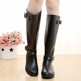 Wholesale Transparent Knee Boots - Punk Style Zipper Tall Boots Women's Pure Color Rain Boots Outdoor Rubber Water shoes For Female 36-41 Plus size