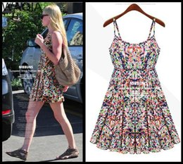 Wholesale Cozy Summer Dress - women summer dress New Hot Fashion summer dress 2015 cozy casual elegant Nibbuns slim big yard floral spaghetti strap S-5XL