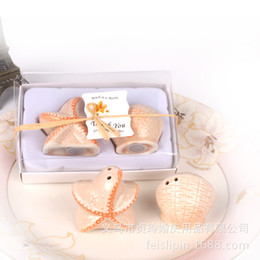 Wholesale Starfish Salt Pepper Shakers - Free shipping wedding favors 200 pieces lot wholesale beach style Seashell and Starfish Salt and Pepper Shakers party gifts 1203#03