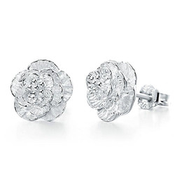 Wholesale Fine Flowers - 925 sterling silver earrings crystal jewelry clear 3 flower stud earrings wedding exquisite vintage fine charms