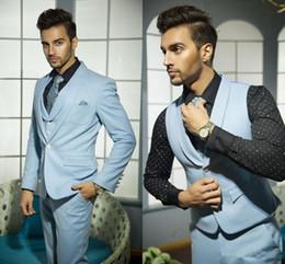Wholesale Mens Suites - new design Mens Wedding Suits Handsome Formal Suits for Men Blue Vest Grooms Suite for Wedding Hot Selling One Button Tuxedos for Men