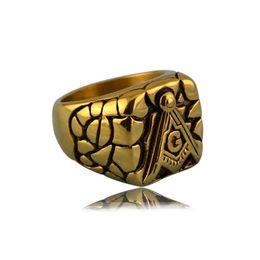 Wholesale Wholesale Masonic Rings - Gold rings Titanium steel gold Free mason Masonic Master High quality ring signet Jewelry for men Free shipping