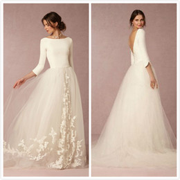 Wholesale Scalloped Bridal Gown - New Arrival 2016 Wedding Dresses with 3 4 Long Sleeves Vestido De Noiva Satin Tulle Backless Wedding Gowns Custom Appliqued Bridal Dresses