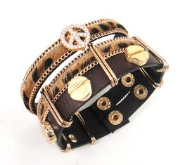Wholesale Music Peace - Fashion vintage luxury Fashion Jewelry Crystal Peace and Horse Hair Real Cowhide Leather Bracelets
