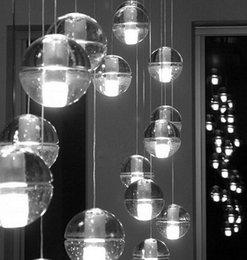 Wholesale Kitchen Light Balls - HI-Q LED Crystal Glass Ball Pendant Lamp Meteor Rain Ceiling Light Meteoric Shower Stair Bar Droplight Chandelier Lighting AC110-240V