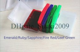 Wholesale Ruby Wholesale - Hot 5pcs USA EU version English language gameboy cartridges poke gba games fire red ruby sapphire leaf green emerald for Christmas gift toy
