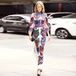 Wholesale Sleeve Leopard Dress - 2018 fashion women's one piece dress brand designer dress 3 4 sleeve runway dresses Leopard diamond luxury maxi long dresses D9420