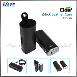 Wholesale E Cig Leather Pouch - Original iSmoka Eleaf iStick 30W Leather Cases Ultra Thin Light e Cig Battery Carry Leather Pouch Bags For iStick 30W With eGo Lanyard Ring
