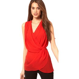 Wholesale Loose Chiffon Blouse V Neck - FG1509 Office Ladies Chiffon Tank Top Sleeveless Vest V Neck Loose Unregular Blouse Casual Slim Brand Tops Blusas Femininas Plus Size