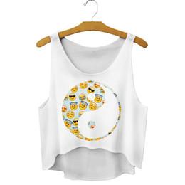 Wholesale Natural Tai Chi - TAI CHI Emoji print loose female sleeveless stringer tank tops sport girls sexy irregular short summer women tank top