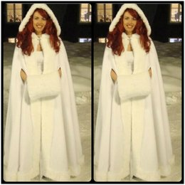 Wholesale Grey Fur Bolero - Custom Romantic Real Image 2016 Hooded Bridal Cape Faux Fur Winter Jacket Bolero Women Wedding Coat Accessories