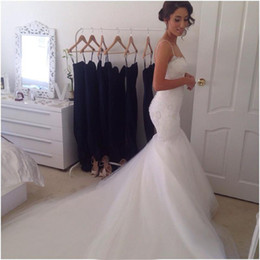 Wholesale Transparent Beach Dresses - Custom Made 2015 Beautiful Sexy Court Train Transparent Back Pearls Lace Mermaid Wedding Dresses Bridal Gowns 2014 Spaghetti Straps Tulle