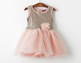 Wholesale Sparkle Baby Dress - Baby girl kids sequin dress sequin tutu dress flower floral tutu dress pettiskirt vest dress princess sparkle costumes rosette jumper cute