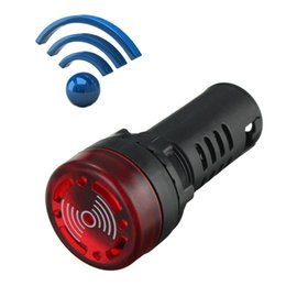 Wholesale Red Light Buzzer - AD16-22SM 22mm Red LED Flashing Buzzer Light Panel Indicator Lamp Bulb AC DC 110V