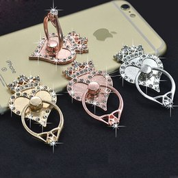 Wholesale Heart Phone Holder - Universal 360 Degree Crown Heart Finger Ring Holder Rhinestone Phone Stand For iPhone 8 Samsung For Mobile Phones