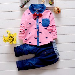 Wholesale Tie Collar For Girls - Wholesale- 2016 autumn babys clothing set boys and girls new cartoon shirt + jeans two-piece kids 4 colours tie suits for age 12M-4T