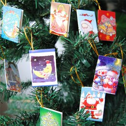 Wholesale Christmas Cards Santa - Christmas Ornaments Wishing Card 3.5*5,4.5*5,5*7cm Printed Santa Claus Sweet wishes Lucky Cards For Christmas Tree Decoration Best Gift NEW