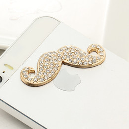 Wholesale Iphone Rhinestone Charms - Wholesale-Charming Rhinestones Mustache Shaped Alloy Mobile Phone Sticker for iphone 5 6 Samsung Phone Decoration pegatinas