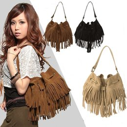 Wholesale Suede Shoulder Bag Fringe Tassel - 2016 Fashion Women Vintage Tassel Suede Fringe Shoulder Bag,Drawstring Bucket Bag Messenger Handbag Brown Bolsas Femininas H12413