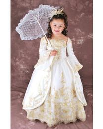 Gorgeous Vintage Flower Girls vestidos para bodas con mangas largas de oro apliques piso longitud niños primera comunión vestido de tamaño personalizado desde fabricantes