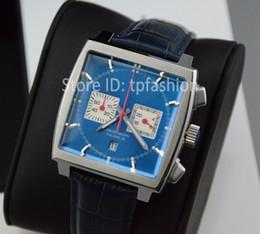 Wholesale Men Classic Square Watches - Classic Blue Top Fashion Quartz Chronograph Watch Men Hour Silver Dial Brand Designer Leather Strap Dress Sport Clock 5866