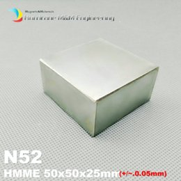 Wholesale Neodymium Magnets N52 Block - 1 Pack Grade N52 NdFeB Block 50x50x25 mm 2'' x 2'' x 1'' Water Meter Filter Magnet Super Strong Neodymium Permanent Magnets Lifting Magnets