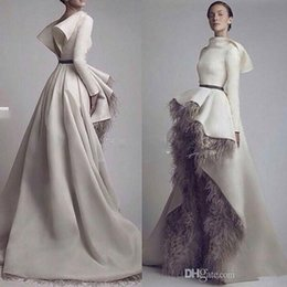 Wholesale custom fonts - Krikor Jabotian Long Sleeves Wedding Dresses 2016 Short Font Long Back Grey Feather Satin Open Back Bridal Gowns Custom Made