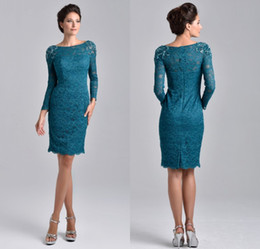 Wholesale Column Dress Mother Bride - Knee Length Mother Of The Bride Groom Dresses 2017 Teal Blue Lace Scoop Neck With Long Sleeves Evening Dresses Beaded Plus Size