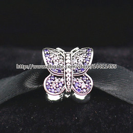 Wholesale purple butterfly charm bracelet - 925 Sterling Silver Thread Sparkling Butterfly Charm Bead with CZ Fits European Style Jewelry Bracelets Necklaces & Pendants