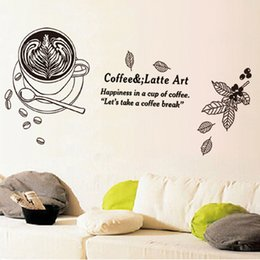 Wholesale Coffee Stickers - Coffee & Latte Art Wall Mural Decor Sticker Happiness in a cup of coffee Let's take a coffee break Wall Quote Decal Post Wall Applique