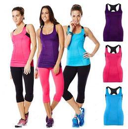Wholesale tops built bras - New woman Break Beat Built In Bra Tank Racerback vest dance tops purple pink blue