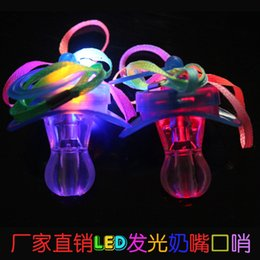 Wholesale Toy Pacifiers - 50pcs lot 9*5cm Funny Led Glow Pacifier Nipple Whistle Necklace Led Light Up Flashing Bubble Rave Party Blinking Key Finder Xmas Gift