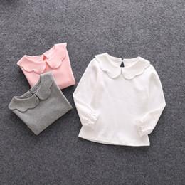 Wholesale Korean Style Shirt Baby - Kids Cotton T-Shirts Long Sleeve Baby Tops Tees Korean style Doll Collar Autumn Sweatshirt Children Pullover Hoodies