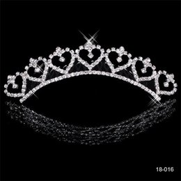 Wholesale Popular Stocks - Popular Alloy Shining Rhinestones Crown Wedding Bride Tiaras Crystal Crowns For Bride Silver Plated Wedding Party In Stock 2015 Cheap 18016