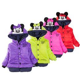 Wholesale Hot Fashion Children Jackets - 2015 Winter Hot Sale Fashion Kids Jackets Minnie pattern Children Hooded Coats Long Sleeve Thickened Girls Clothing 4pcs lot 100-130 T1316