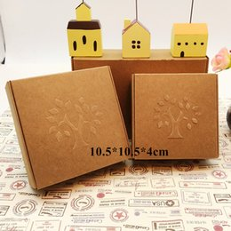 Wholesale Cardboard Trees - Wholesale- Brown Embossing Tree Kraft Paper Box for Craft Gift Soap Packing Cardboard Boxes 10.5*10.5*4cm Free Shipping
