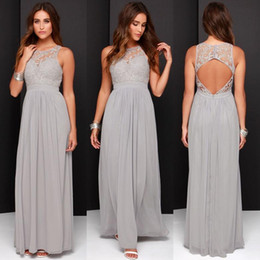 Wholesale long dark grey bridesmaid dresses - 2016 Cheap Grey Bridesmaid Dresses for Wedding Long Chiffon A-Line Backless Formal Dresses Party Lace Modest Maid Of Honor Dress