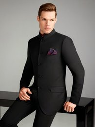Wholesale Notch Collar Slim Fit Suits - Black Mens Wedding Tuxedos High Collar Mens Suits Custom Made Wedding Suits for Groom Single Breasted Dinner Jacket Tuxedo (Jacket+Pants)