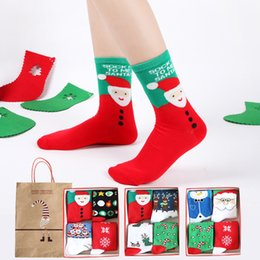 Wholesale Cartoon Tube - All cotton 4 pairs Christmas gift boxed couple Christmas socks men and women middle tube holiday gifts socks Wholesale
