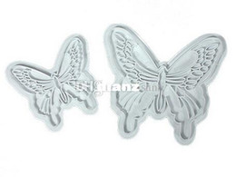 Wholesale Decorated Butterflies - Fashion Hot 2pcs lot Butterfly Cake Fondant Decorating Sugar craft Cookie Plunger Cutters Mold