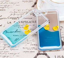 Wholesale Duck Iphone Cover - 2015 Newest Design Flowing Liquid Swimming Yellow Duck Clear Cover Back Case for iPhone 5S 6 6Plus 6S 6S Plus 1PCS