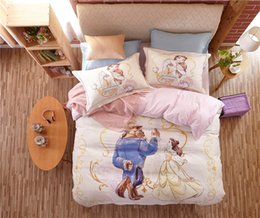 Wholesale Girls Bedroom Comforters - Beauty and the Beast Disney Cartoon 3D Printed Bedding Set for Girls Bedroom Decor Cotton Bedspread Duvet Cover Single Twin Pink