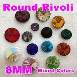 Wholesale Rivoli 18mm - Wholesale-Top Quality Mixed Colors Round Rivoli Glass Crystal Fancy Stone Beads (8mm 10mm 10.7mm 12mm 14mm 16mm 18mm)