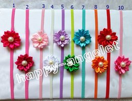 "Wholesale Thin Hairbands - 16pcs Newborn Thin Headbands With Polygonal cloth 2"" flower Kids Elastic Headband Baby Hair Accessories Infant Pearl Flower Hairbands PJ5251"