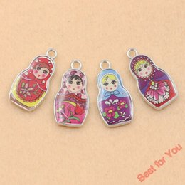Wholesale Girls Russian - 40Pcs Tibetan Silver Plated Enamel Russian Toys Angel Fairy Girls Charms Pendants for Jewelry Making DIY Craft Accessories 27x14mm